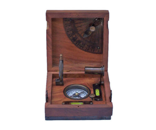 "Marine Master Box, Compass, Telescope, Alidade w/ 5"" Desktop Wood Case New"