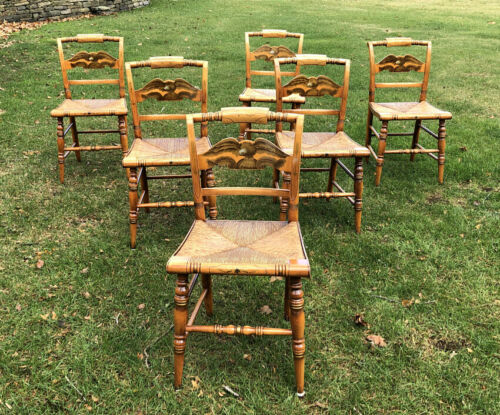 Set 6 original Hitchcock maple chairs hand painted stenciled eagle arrows rush S