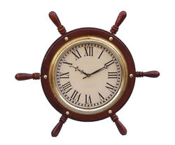 Ship's Steering Wheel Wooden 15 w/ Brass Finish Clock Hanging Wall Decor