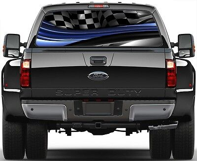 Racing Checkered Wane Burnout Rear Window Graphic Decal Truck SUV Vans