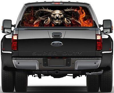 Demon Grim Reaper Skulls Fire Ver-1  Rear Window Graphic Decal Truck SUV (1 Rear Window Graphic)