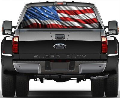 American Flag version 1 Rear Window Graphic Decal Truck (1 Rear Window Graphic)