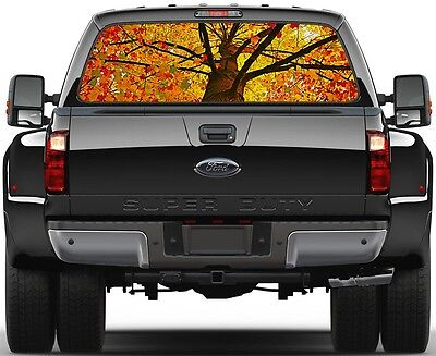 Yellow Red Leaves Tree Atum Fall  Rear Window Graphic Decal  Truck Van Car