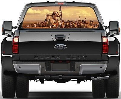 Indians soldiers, Horses Version 1 Painting Rear Window Graphic Decal Truck (1 Rear Window Graphic)
