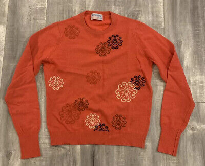 Vintage 70s Ballantyne Pure Cashmere Flower Sweater Size Small Made In Scotland