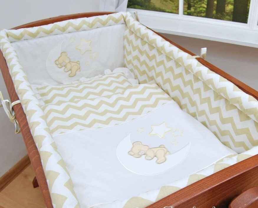 lux 8 pcs CRIB BEDDING SET TEDDY EMBROIDERY all round bumper/canopy/fitted sheet