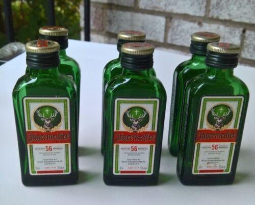 6 EMPTY Jaegermeister 50ml Green Glass Miniature Liquor Bottles Jagermeister