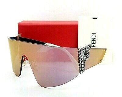 "New Fendi sunglasses FF0382/S J5GUE Rhinestone ""F"" - Rose Gold Mirror Shield"