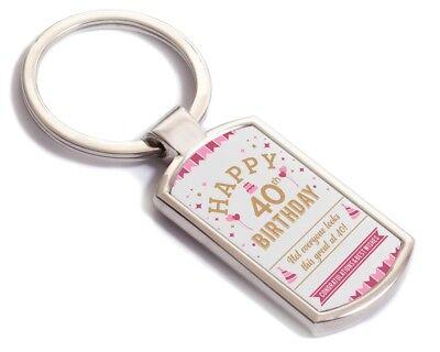 40th Birthday Happy Gift Present Idea Women Lady Keepsake For Her 40 Keyring