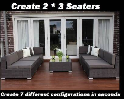 WICKER LOUNGE SETTING ,EUROPEAN STYLING,7CONFIGURATIONS,B/NEW