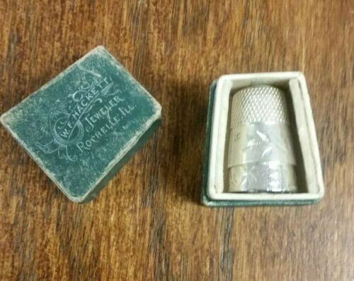Antique W F Hackett Jewelers Sterling Silver Thimbles w/ Crown Mark Size 10