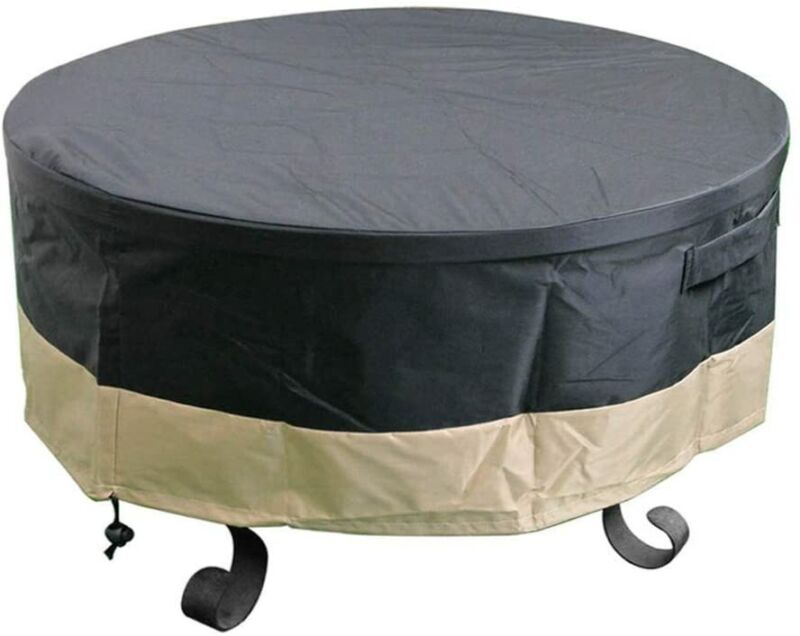"""30"""" 36"""" 40"""" 44"""" 50"""" 60"""" Full Coverage Round Fire Pit Cover/Table, Black"""