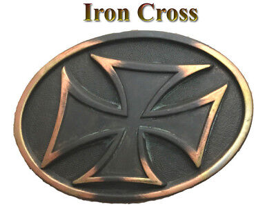 Cross Cool Belt Buckle - VINTAGE BIKER PUNK COOL COPPER METAL ROCK PATINA OVAL IRON CROSS BELT BUCKLE NEW