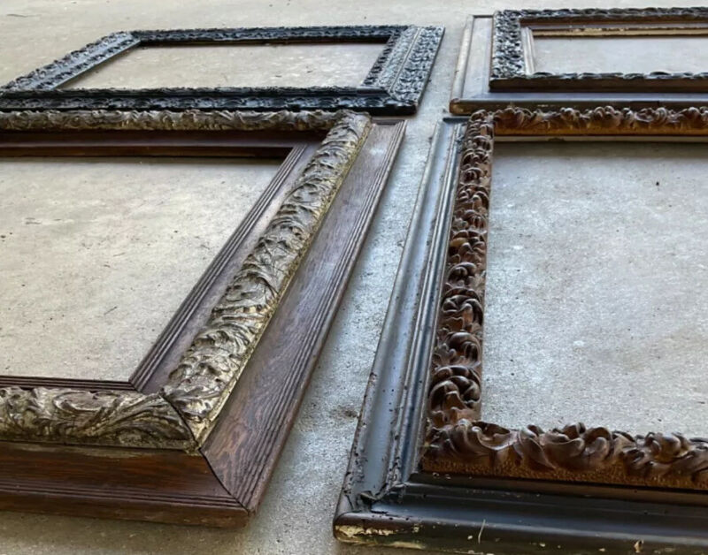 Lot Antique Ornate Victorian Frames as Wall Art on Their own