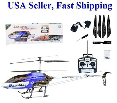 "53"" Extra Large GT QS8006 2 Speed 3.5 Ch RC Helicopter Builtin GYRO Blue on Rummage"