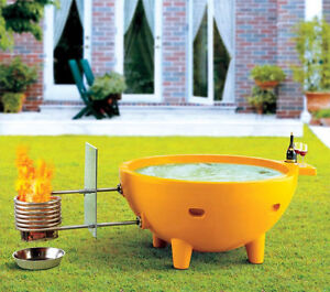 FireHotTub/Round Fire Burning Portable Outdoor Fiberglass Soaker