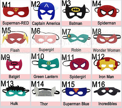 Superhero Masks - Felt masks for Kids Halloween Costume Birthday Party - Superhero Halloween Costumes For Kids