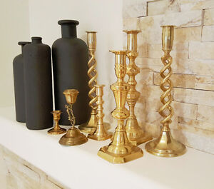 Set of 7 ,Brass candlesticks, Brass Candle Holders