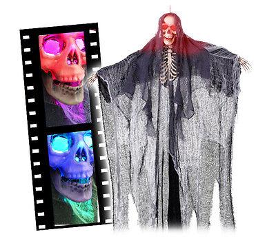Leuchtaugen Sensenmann 1,6 Meter Hängedeko Halloween LED Party Schocker Skelett