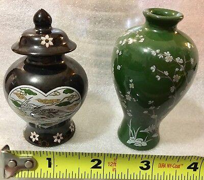 Lot Of 2 Vintage 1980 Miniature Japanese Porcelain Vase And Jar
