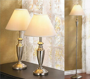 3PC Lamp Set Floor Pole Lamp & 2 Table Lamps Silvertone New