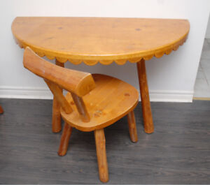 !/2 pine table and chair F/S. Flintstone furniture.