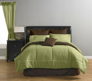 Solid-Color Reversible Comforter + 6 PC. SHEET SET - King NEW