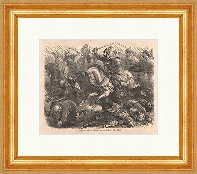 Skanderbeg in der Schlacht an der Dibra Holzstich Kampf Pferd Neger  P 0431