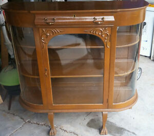Antique bow front hutch display cabinet vintage