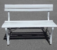 White Park Bench On Metal Frame, Solid, Ready To Use