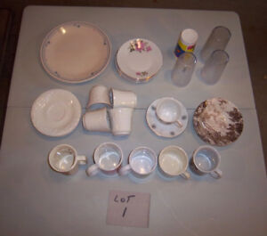 4 LOTS OF DISHES, CUPS, ETC