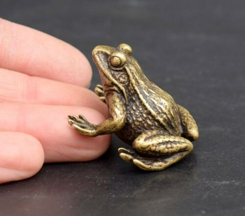 Solid Brass Frog Statue Animal Figurines Decor