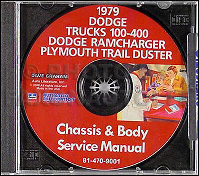 1979 Dodge Pickup Truck Shop Manual CD Red Express Warlock Power Wagon DW100-400