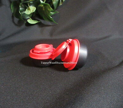 Tupperware NEW Mini Black Smidget SMidgets Small Salt & Pepper Shakers Red Seals
