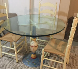 Iron based table glass top,four antique chairs