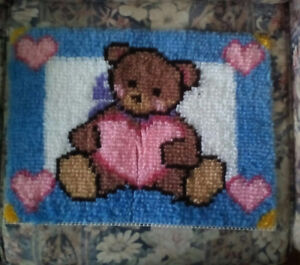 "Bear with hearts FINISHED rug hook ""picture"" & 1 other 1"