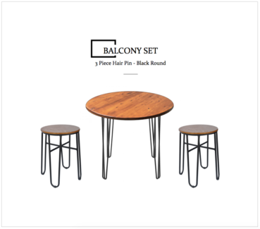 3 Piece Round Balcony Set - Stool Package