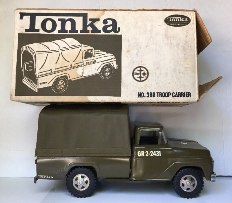Vintage 60s Tonka US Army Military  No.380 Troop Carrier .W.  Box 100% Original