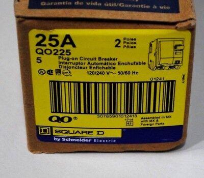 New Square D Qo225 2 Pole 25 Amp 120v Plug In Circuit Breaker