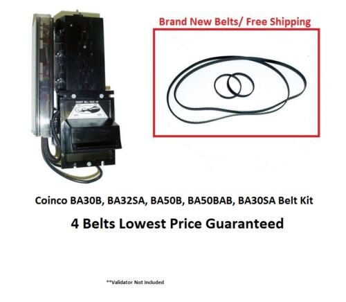 Coinco BA30B, BA50B, BA32SA validator bill acceptor belt kit  4 New belts
