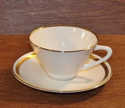 4 Royal Devon Pattern ROD5 Ivory China/Gold Band/Trim CUPS & SAUCERS ()