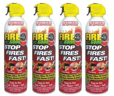 4 Pack Lot Fire Gone 16oz Can - Fire Extinguisher - Emergency Uses Vehicle