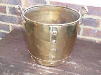 Small copper coal/log bucket