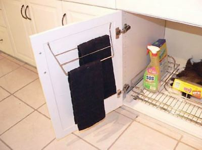 Cabinet Door Dish Towel Holder Under Sink Kitchen Cloth Storage Rack Rag Hanger
