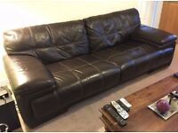 Sofology 3 seater Brown leather Sofa / Can help with delivery