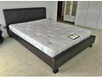 OFFER w MEMORY FOAM MATTRESS NEW FAUX LEATHER SINGLE-SMALL DOUBLE+DOUBLE & KING SIZE BED FRAME
