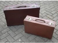 Fabulous condition vintage leather suitcases with brass locks
