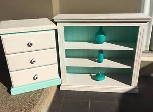 Shabby Chic Vintage Country Style Bookcase & Bedside Table Lilli Pilli Sutherland Area Preview