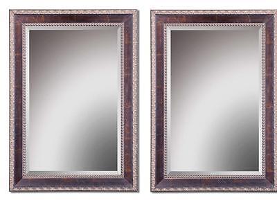 Set/2 Beaded Edge Wall Mirror Large Beveled ...