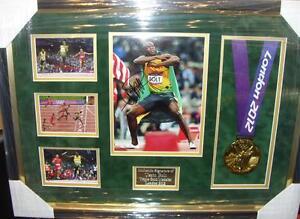 USAIN BOLT 3  OLYMPIC GOLDS LONDON 2012   Signed Montage  AFTAL